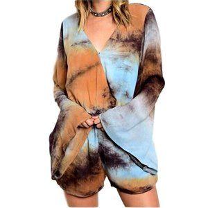 Boho Hippie Gypsy NEW Tie Dye Bell Sleeve Romper